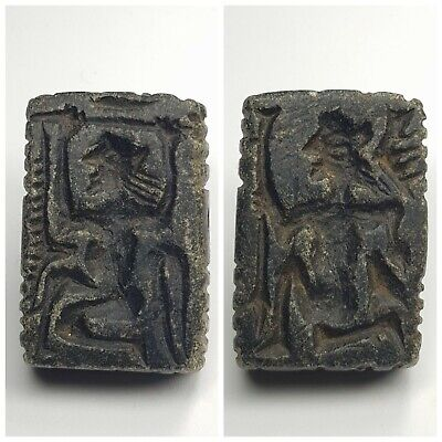 Old bactria amyzing double side stone intaglio stamp bead