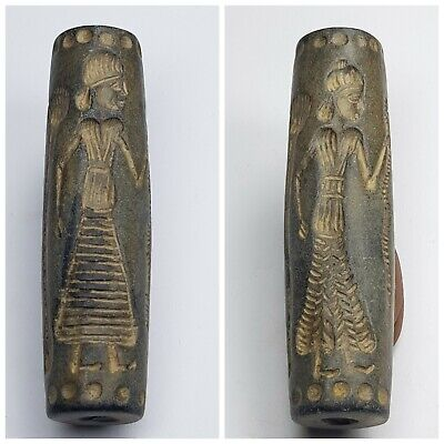 Old bactria amyzing double side stone cylinderseal bead