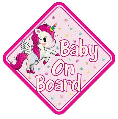 Unicorn Baby On Board Car Window Sign Non Personalised - Pink Child Safety