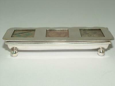 Victorian 1900 Solid Silver Novelty Stamp Case Holder Box - 3 Compartments