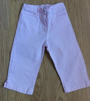 Girls H&M cropped capri pink gingham trousers age 4-5 years