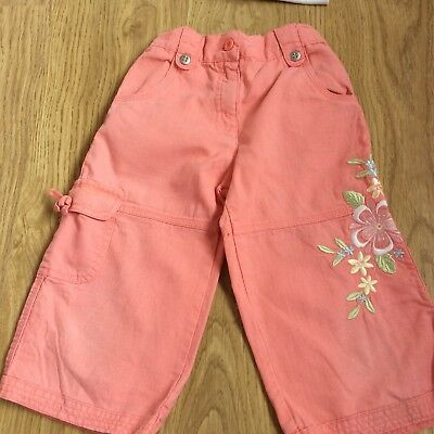 Girls cropped salmon pink capri trousers age 7-8 mothercare