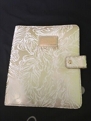 Lilly Pulitzer Agenda Folio Gold Leaf Leatherette Cover With Pen Loop