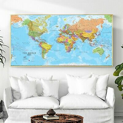 Art Canvas Poster Paint HD Geography Political World Map Wall Decor No Frame B29