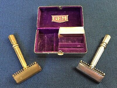 2 Vintage Gem Micromatic Open Comb Razors And Gem Safety Razor Metal Case