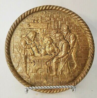 "Vintage Peerage Brass 6 1/2"" Embossed Wall Hanging Plate Made In England"
