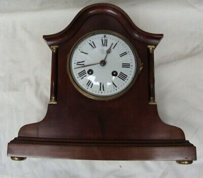 A  J. W. Benson Mahogany, Striking Mantel Clock.