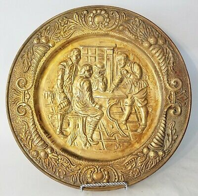 Vintage Peerage Brass Embossed Wall Hanging Plate Tavern Scene Made In England