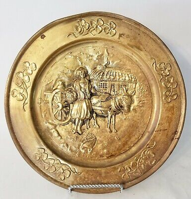 Vintage Peerage Brass Embossed Wall Hanging Plate Lady on Farm Made In England