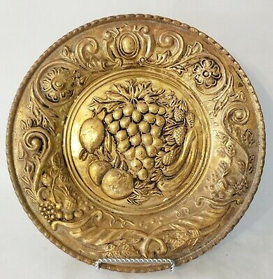Vintage Brass Embossed Wall Hanging Plate Grapes Fruit Made In England