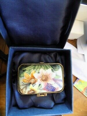 Old Tupton Ware - FLORAL hand painted NAVY Enamel Trinket in Original box VGC