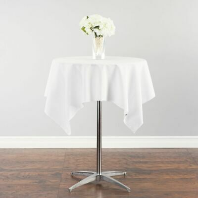 Linen Tablecloth 52 IN. SQUARE COTTON-FEEL TABLECLOTH WHITE