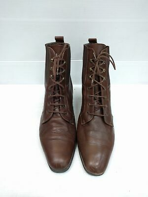 Sz 41 Ladies CARMENS ITALY brown granny classic lace up leather ankle boots