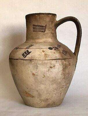 Large Antiquity Greek Cypriot Pottery Vessel Jug