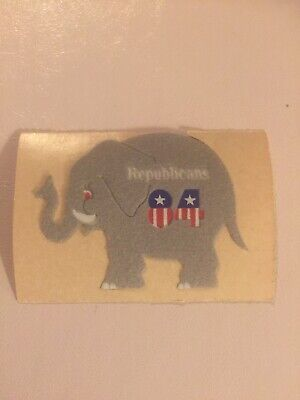 Vintage Fuzzy Personal Expressions Republican 84 Sticker Mod Elephant