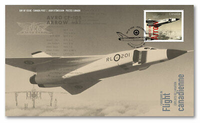 Avro Arrow CF-105 First Day Cover Canada Canadians in Flight, Collector Packaged