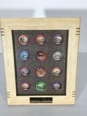 Tropicana Casino Chips Las Vegas Currency 1990's NFR Rodeo Real Money Wood Frame