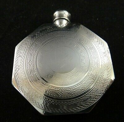 """Antique Art Deco Sterling perfume flask.1 ¾"""" x 1 ½"""". Spiral designs,  Early 20th"""