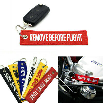 Fabric Keychain Remove Before Flight Key Ring Pilot Bag Tag Luggage Keyring