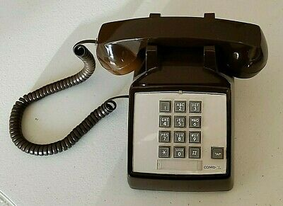 Vintage Chocolate Brown  Comdial  Touch Tone Desk Phone Used Tested and Working