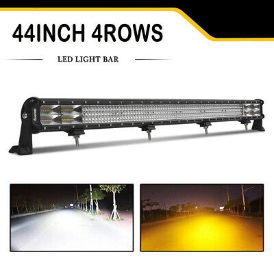 Dual Color 44Inch Quad Row LED Work Light Bar Flood Spot Combo Fog Driving Lamps