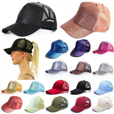 Glitter Ponytail Baseball Caps Women Messy Bun Adjustable Snapback Hip Hop Hat #