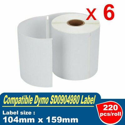 6 Rolls Compatible Dymo 4XL Label SD0904980 for eParcel AusPost 220 labels/roll