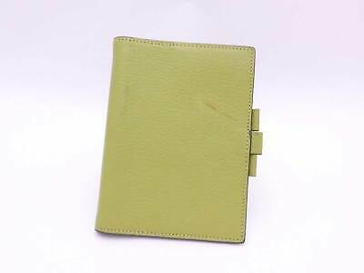 Auth HERMES Square I (2005) Note/Agenda Cover Light Green Leather - e41465