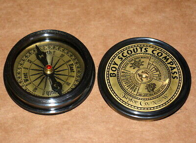 """Vintage Nautical Solid Brass compass 2"""" boy scouts calendar poem compass gift"""
