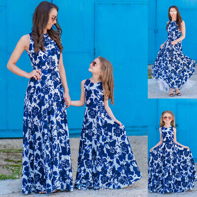CA Mother Daughter Matching Floral Dress Womens Girls Long Maxi Dresses Clothes