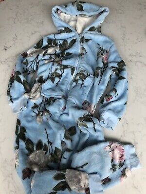 M&S Onesie Sky Blue Fluffy Flowered Age 8 Marks And Spencer *Not Gerber*