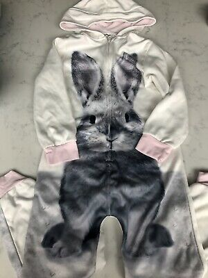 M&S Onesie S Cream Rabbit Print Age 8 Marks And Spencer *Not Gerber*