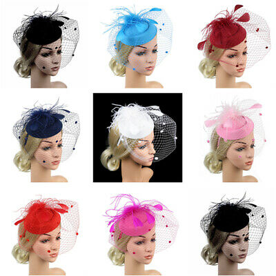 Women Feather Sinamay Cocktail Party Hat Wedding Church Fascinator Headband UK