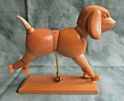 Wooden Poseable Articulated Artist Dog Figure