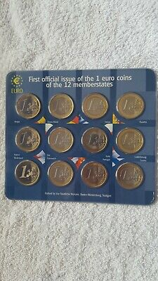 First Official Issue of the 1 Euro Coins - 12 Coin UNcirculated set - Mint