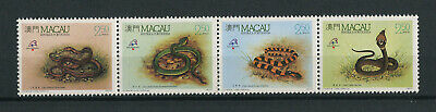 Portugal Macao Macau 1989 SNAKES REPTILES complete set IN STRIP MNH, FVF
