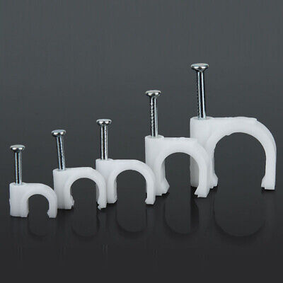 3~50mm White Round Wire Cable Clips ClampTube Fixation Clamp With Hardened Nail