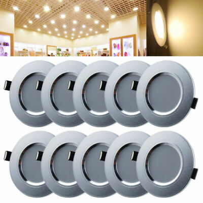 10 Pack 3W LED Recessed Ceiling Down Light Lamp Warm White Energy Saving AU