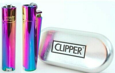 Genuine Clipper Icy Rainbow Metal Lighter + Gift case, Clipper Gift Icy Rainbow