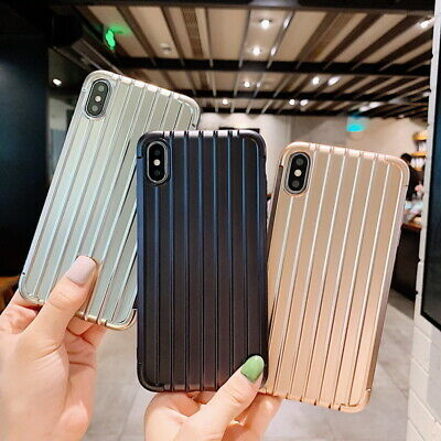 3D Stripe Suitcase Plating Soft Case Cover For iPhone XS Max XR X 6s 8 7 Plus