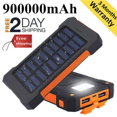 Waterproof Power Bank 900000mAh 2 USB Travel Portable Solar Battery Charger Pack