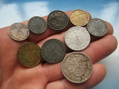 * WW2 GERMAN COINS with EAGLE Set of 9. Deutsches Reich 1937 - 1943. genuine !!