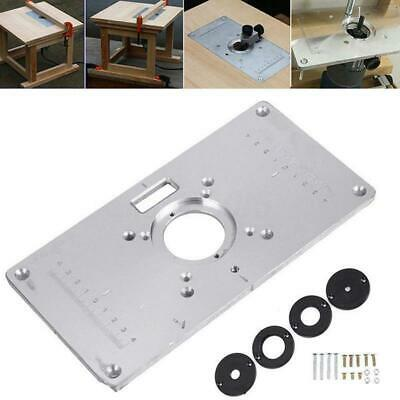 Router Table Plate 700C Aluminum Router Table Insert Plate + 4 Rings Screws O6Z9