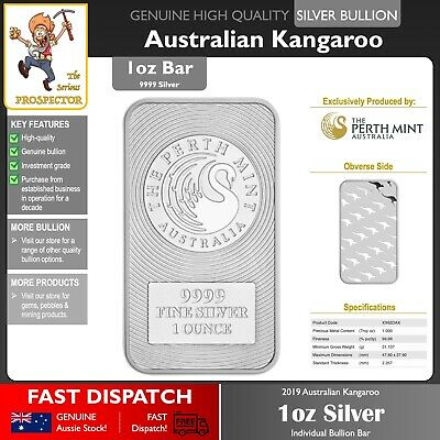 1oz (ounce) Silver Bullion Bar | Perth Mint | Kangaroo Minted | 99.99% 9999