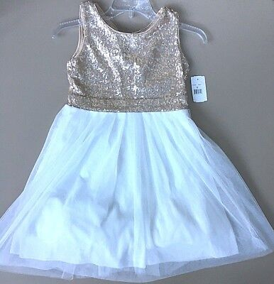 NWT Poppies and roses Girl 10/12 Gold/white dress Formal wedding, pagent Holiday