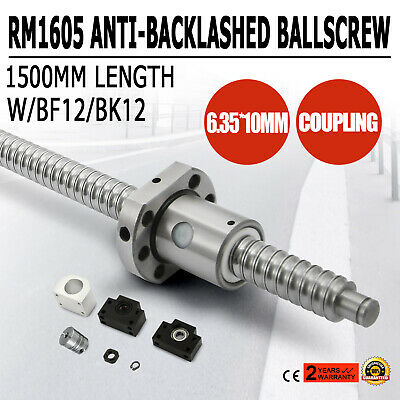 1x Antibacklash RM1605--620 mm Ballscrew /& nut+BF12//BK12+6.35*10 mm Couplering