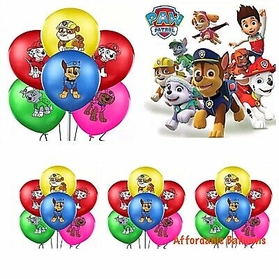 "10 x PAW PATROL Printed Latex Balloons 12"" Birthday Party Decorations."