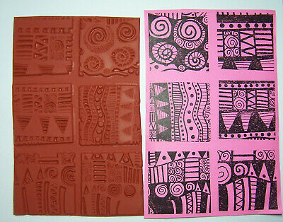 Set of 6 Bold Graphic Unmounted Rubber Stamps for Paper, Fabric & Clay Stamping