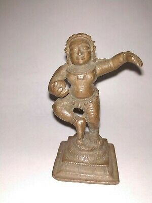 Antique Hindu Traditional Indian Ritual Bronze God Krishna Crawling shlf