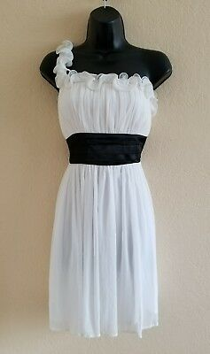 Sequin Hearts White Black Dress One Shoulder Strap Size Large